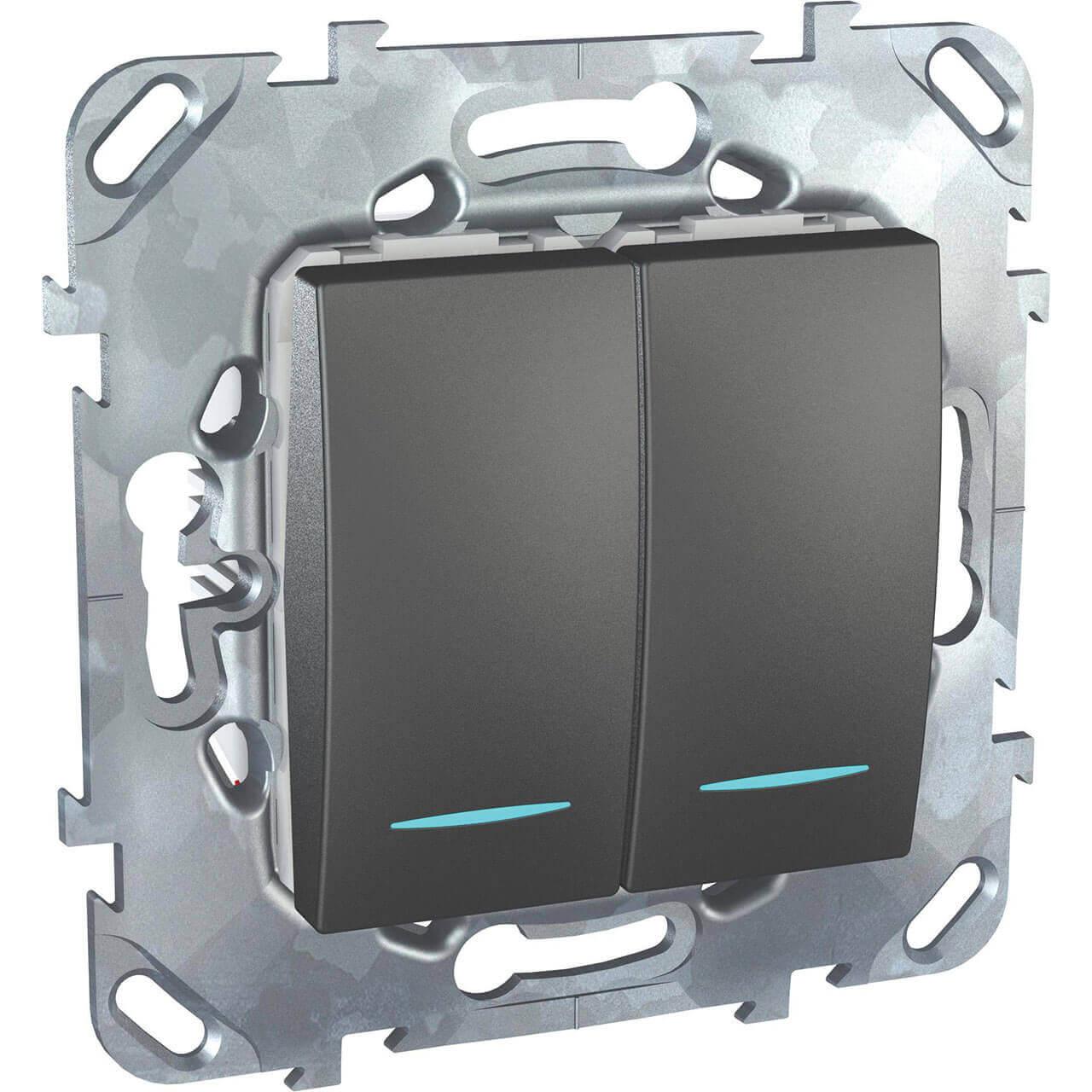 Переключатель двухклавишный с подсветкой Schneider Electric Unica MGU5.0303.12NZD переключатель schneider electric двухклавишный 16а alb45056