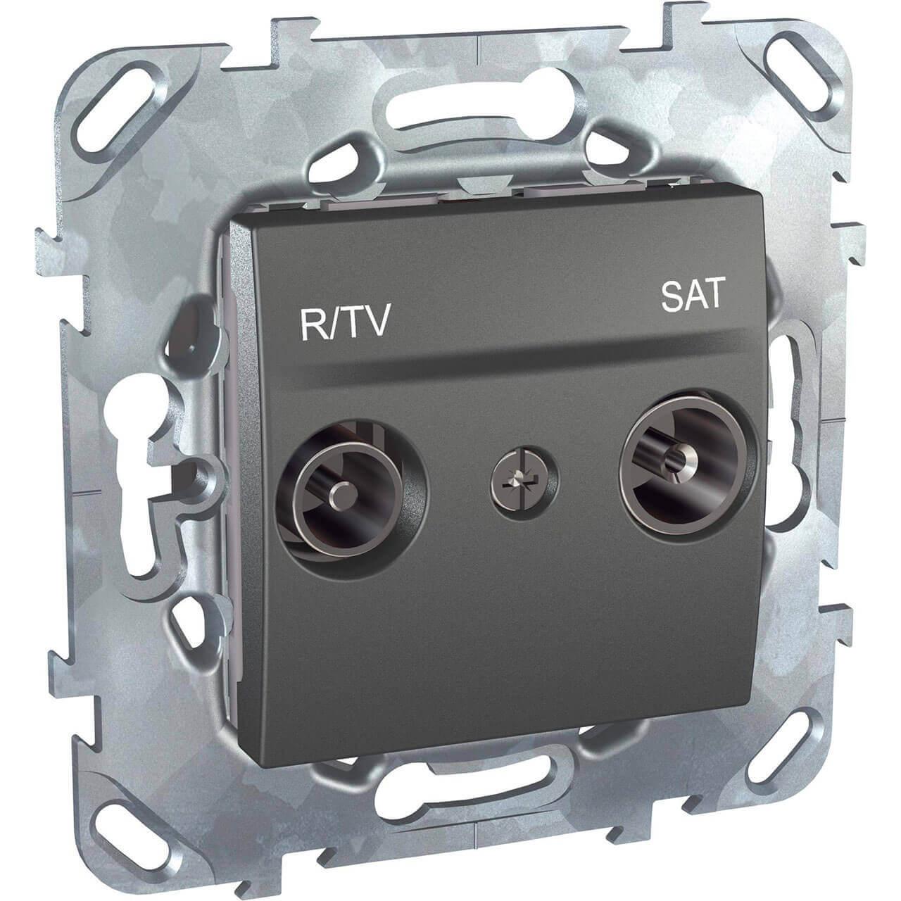Розетка R-TV/SAT оконечная Schneider Electric Unica MGU5.455.12ZD заглушка 45х45 schneider electric unica mgu5 866 12zd