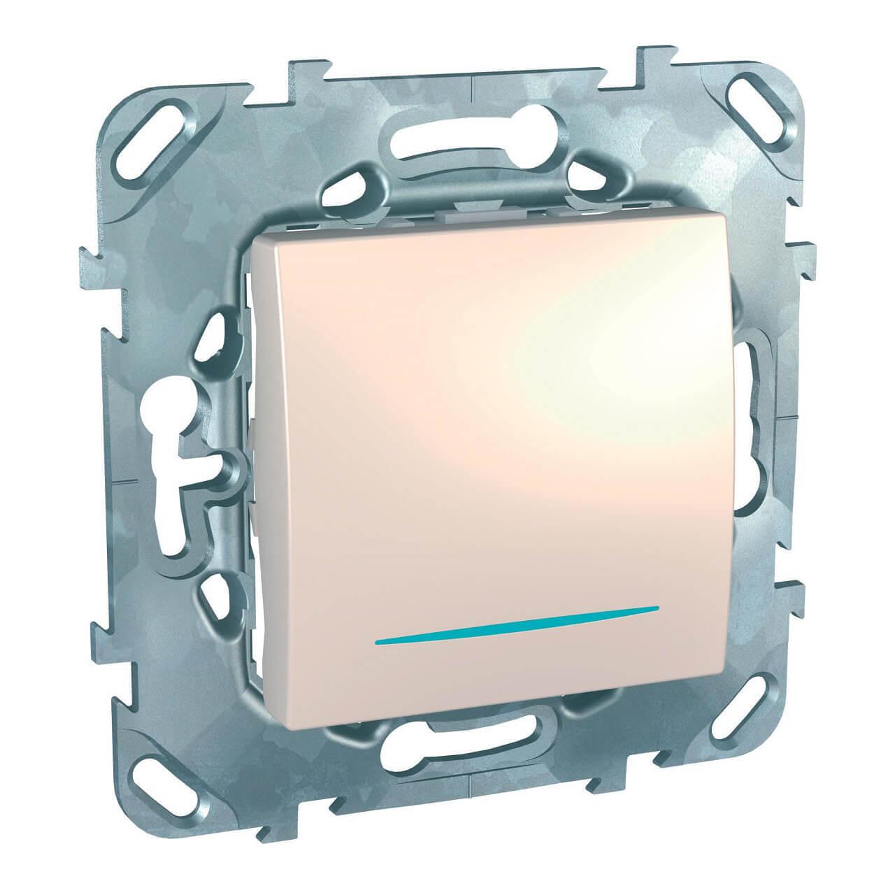 Выключатель одноклавишный с подсветкой Schneider Electric Unica MGU5.201.25NZD schneider одноклавишный кнопочный выключатель unica с подсветкой графит