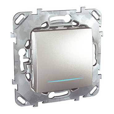 Выключатель одноклавишный с подсветкой Schneider Electric Unica MGU5.201.30NZD schneider одноклавишный кнопочный выключатель unica с подсветкой графит