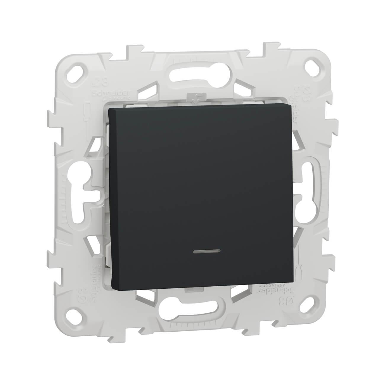Переключатель одноклавишный с подсветкой Schneider Electric Unica New NU520354N schneider одноклавишный кнопочный выключатель unica с подсветкой графит