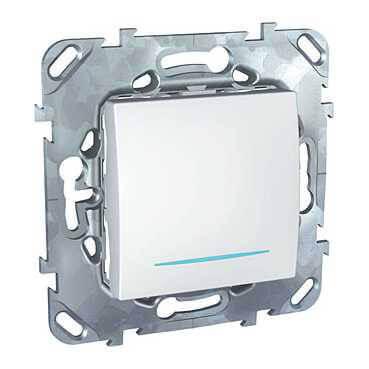 Переключатель одноклавишный с подсветкой Schneider Electric Unica MGU5.203.18NZD schneider одноклавишный кнопочный выключатель unica с подсветкой графит