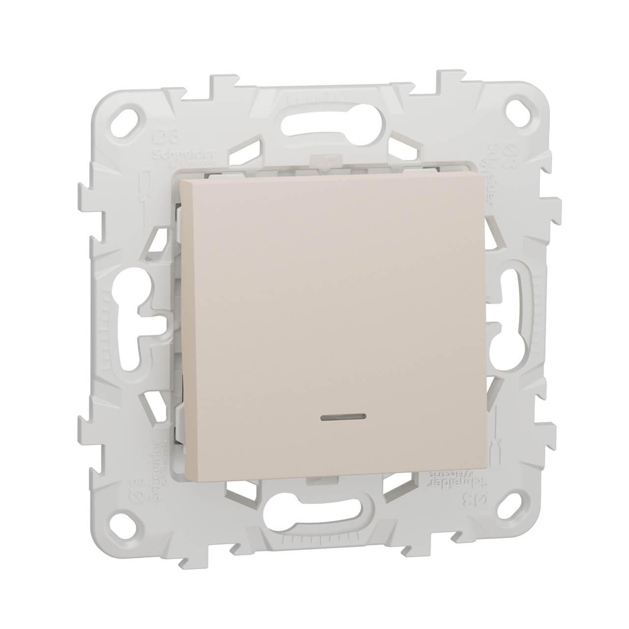 Переключатель одноклавишный с подсветкой Schneider Electric Unica New NU520344N schneider одноклавишный кнопочный выключатель unica с подсветкой графит