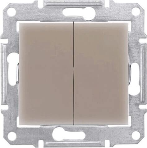 Переключатель двухклавишный Schneider Electric Sedna 10A 250V SDN0600168 переключатель schneider electric двухклавишный 16а alb45056