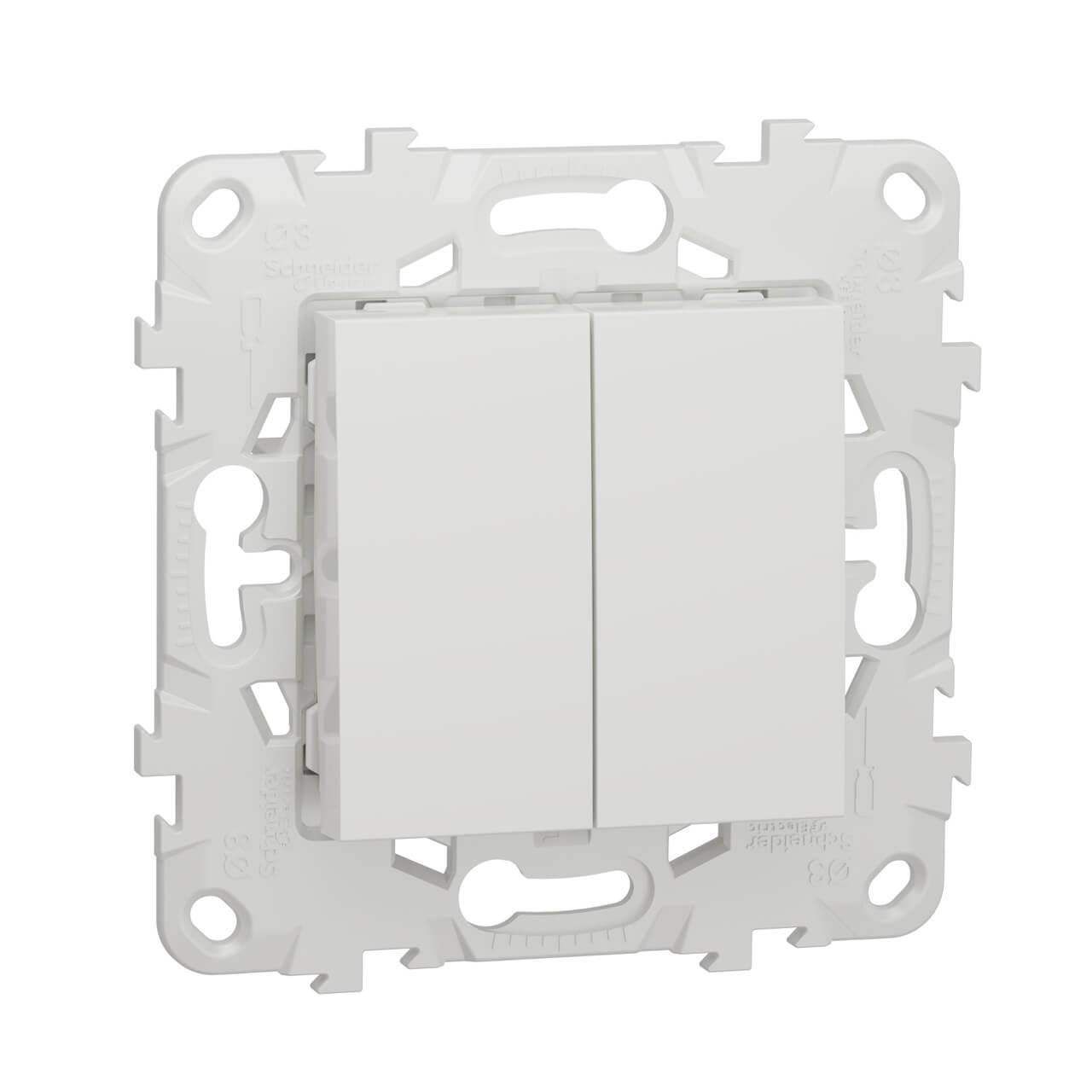цена на Выключатель двухклавишный Schneider Electric Unica New NU521118