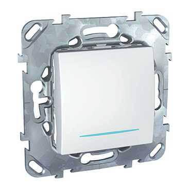 Выключатель одноклавишный с подсветкой Schneider Electric Unica MGU5.201.18NZD schneider одноклавишный кнопочный выключатель unica с подсветкой графит