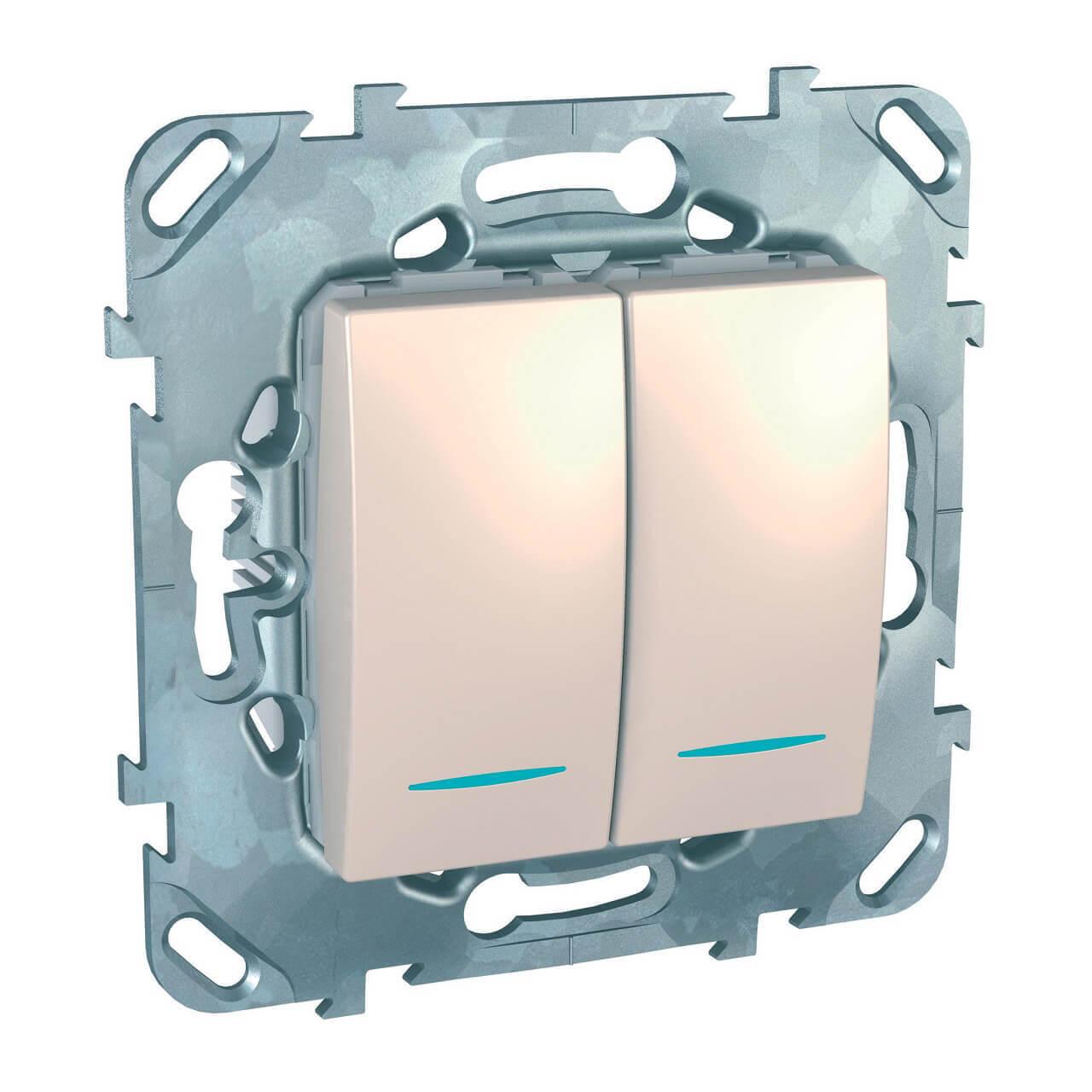 Выключатель двухклавишный с подсветкой Schneider Electric Unica MGU5.0101.25NZD выключатель двухклавишный для жалюзи schneider electric unica mgu5 208 25zd