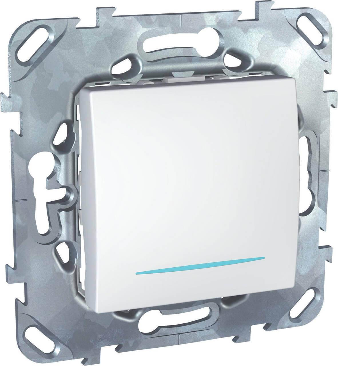 Выключатель одноклавишный кнопочный с подсветкой Schneider Electric Unica MGU5.206.18NZD schneider одноклавишный кнопочный выключатель unica с подсветкой графит