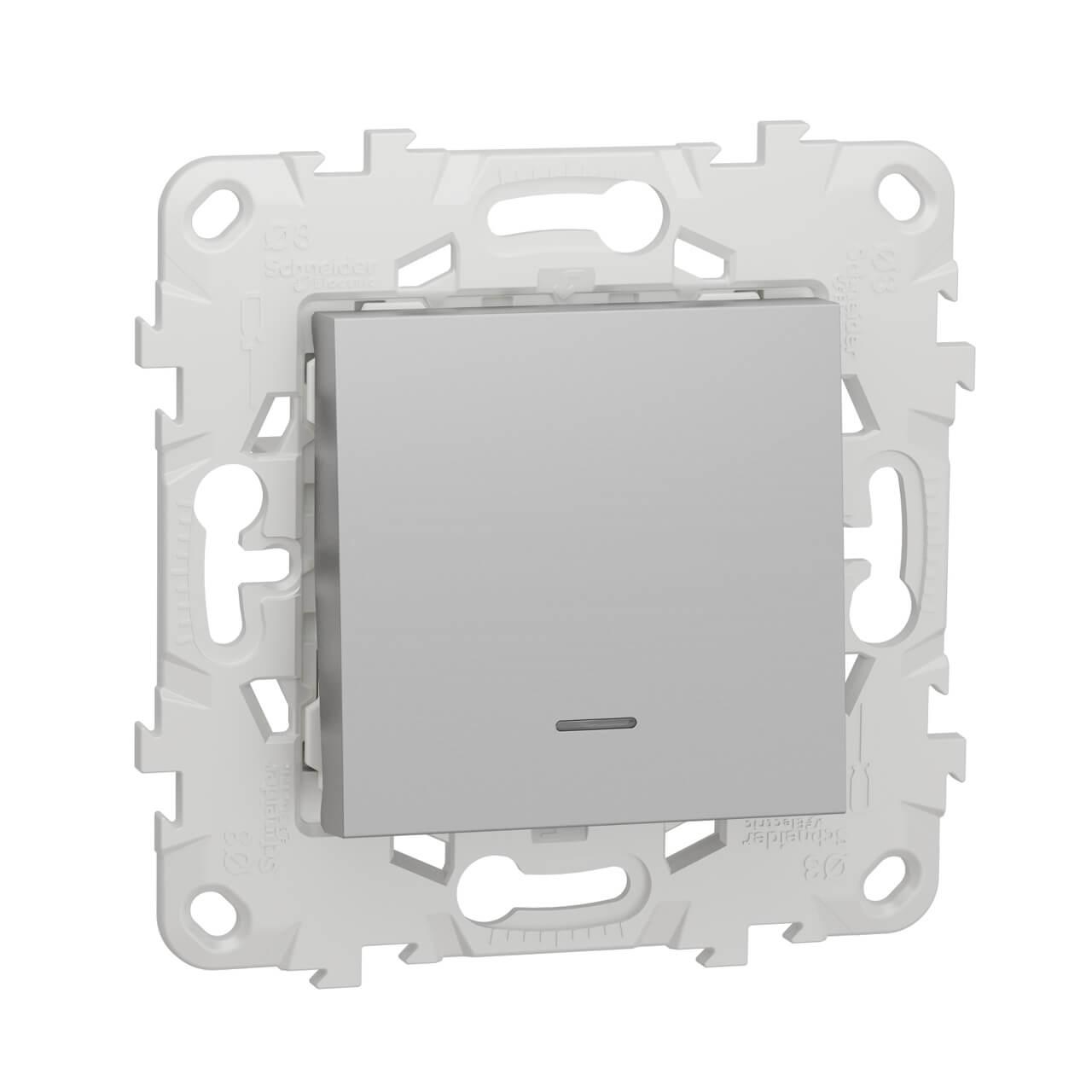 Переключатель одноклавишный с подсветкой Schneider Electric Unica New NU520330N schneider одноклавишный кнопочный выключатель unica с подсветкой графит