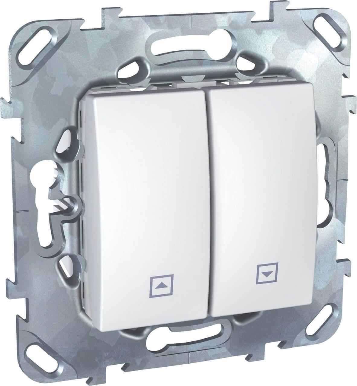 Выключатель двухклавишный кнопочный для жалюзи Schneider Electric Unica MGU5.207.18ZD выключатель двухклавишный для жалюзи schneider electric unica mgu5 208 25zd