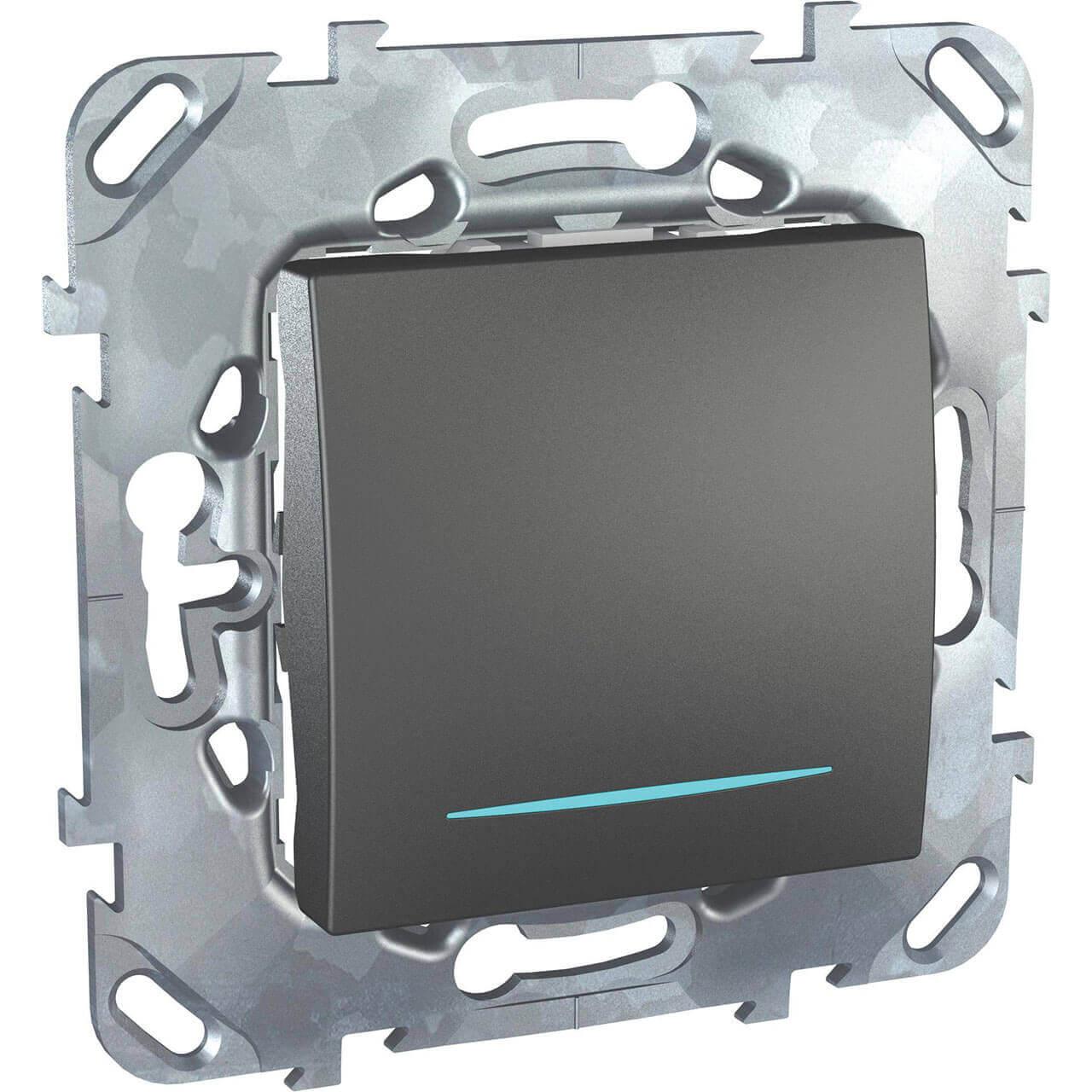 Переключатель одноклавишный с подсветкой Schneider Electric Unica MGU5.203.12NZD schneider одноклавишный кнопочный выключатель unica с подсветкой графит