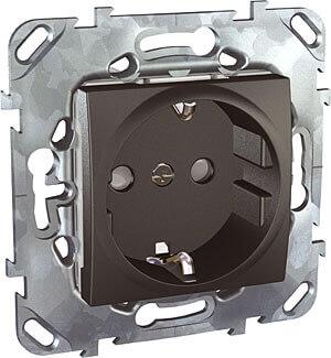 Розетка Schneider Electric Unica с/з со шторками 16A 250V MGU5.037.12ZD заглушка 45х45 schneider electric unica mgu5 866 12zd