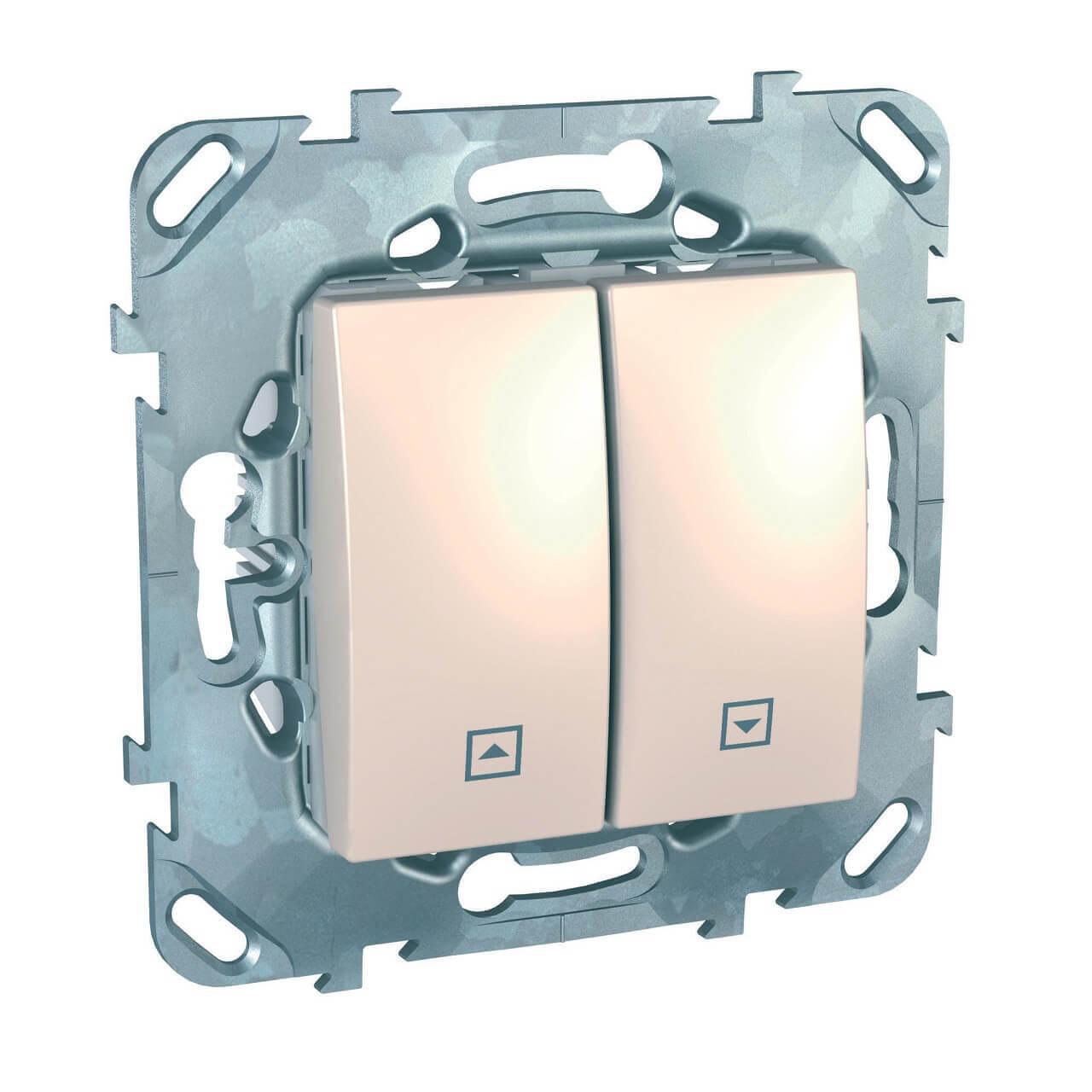 Выключатель двухклавишный кнопочный для жалюзи Schneider Electric Unica MGU5.207.25ZD выключатель двухклавишный для жалюзи schneider electric unica mgu5 208 25zd