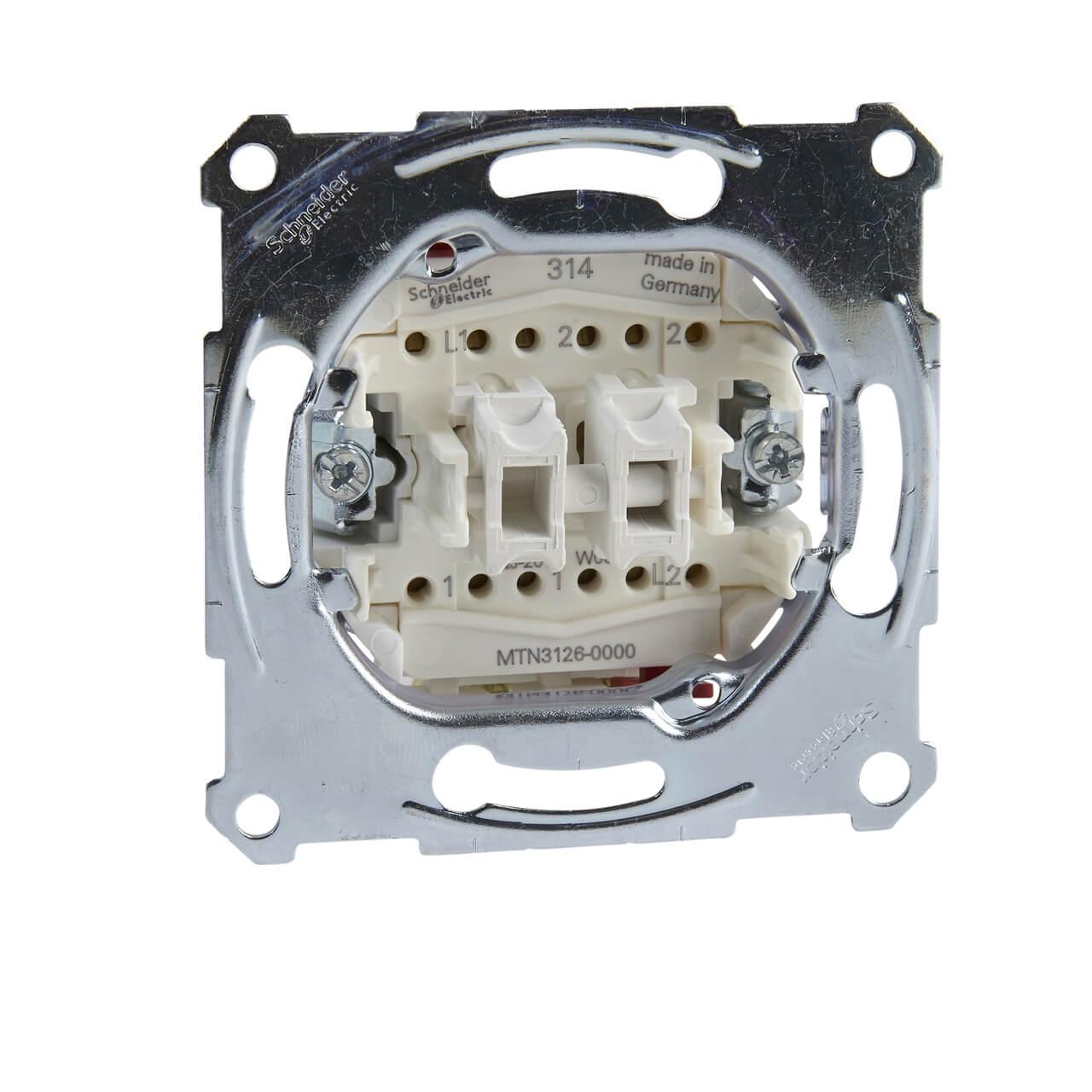 Переключатель двухклавишный Schneider Electric Merten Aquadesign MTN3126-0000 переключатель schneider electric двухклавишный 16а alb45056