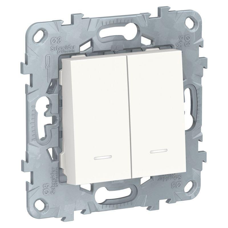 цена на Выключатель двухклавишный Schneider Electric Unica New NU521118N