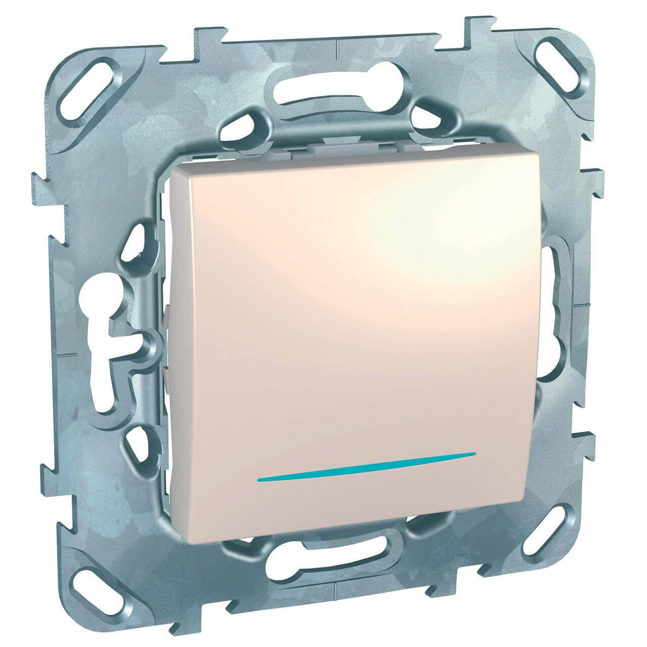 Переключатель одноклавишный перекрестный с подсветкой Schneider Electric Unica MGU5.205.25NZD schneider одноклавишный кнопочный выключатель unica с подсветкой графит