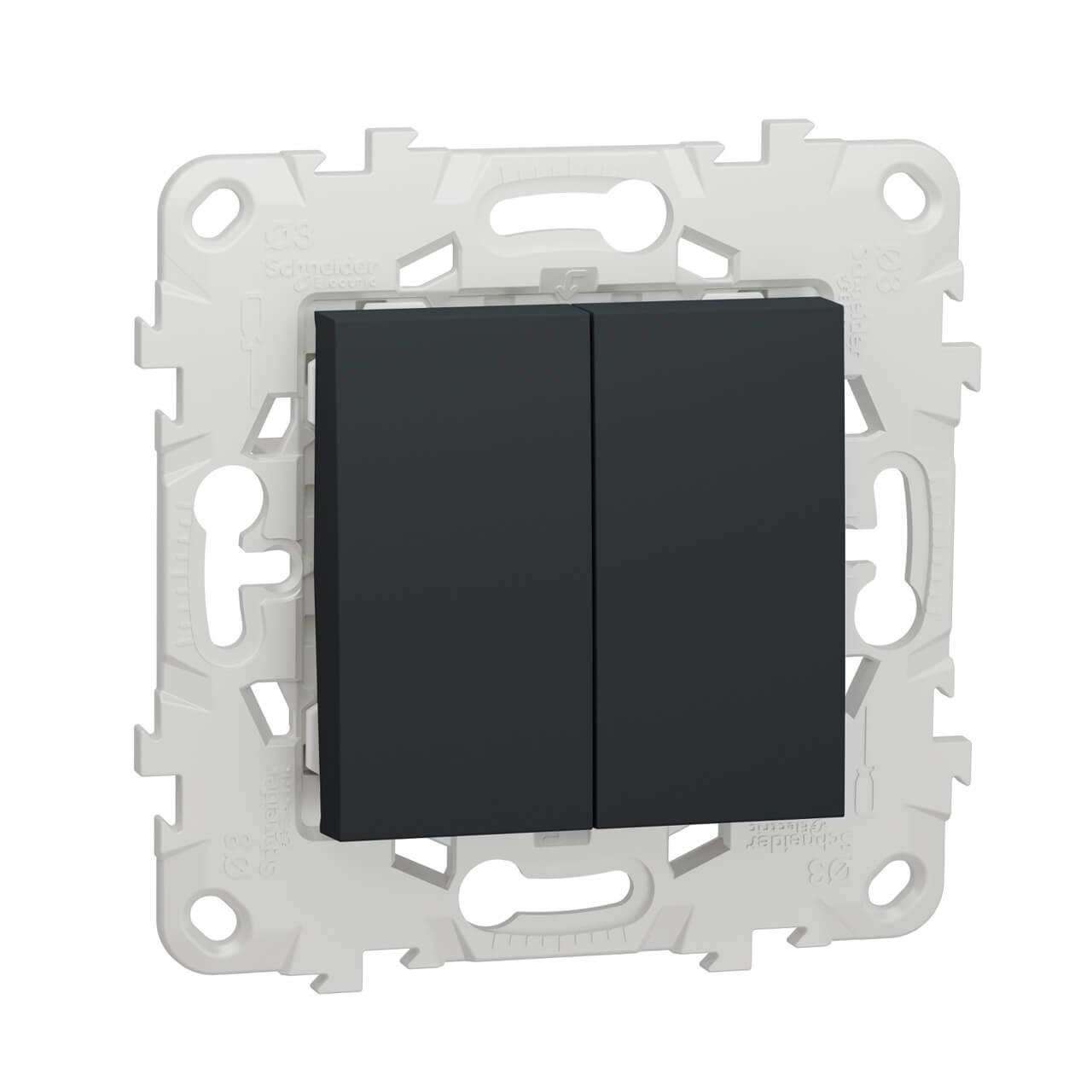 цена на Выключатель двухклавишный Schneider Electric Unica New NU521154