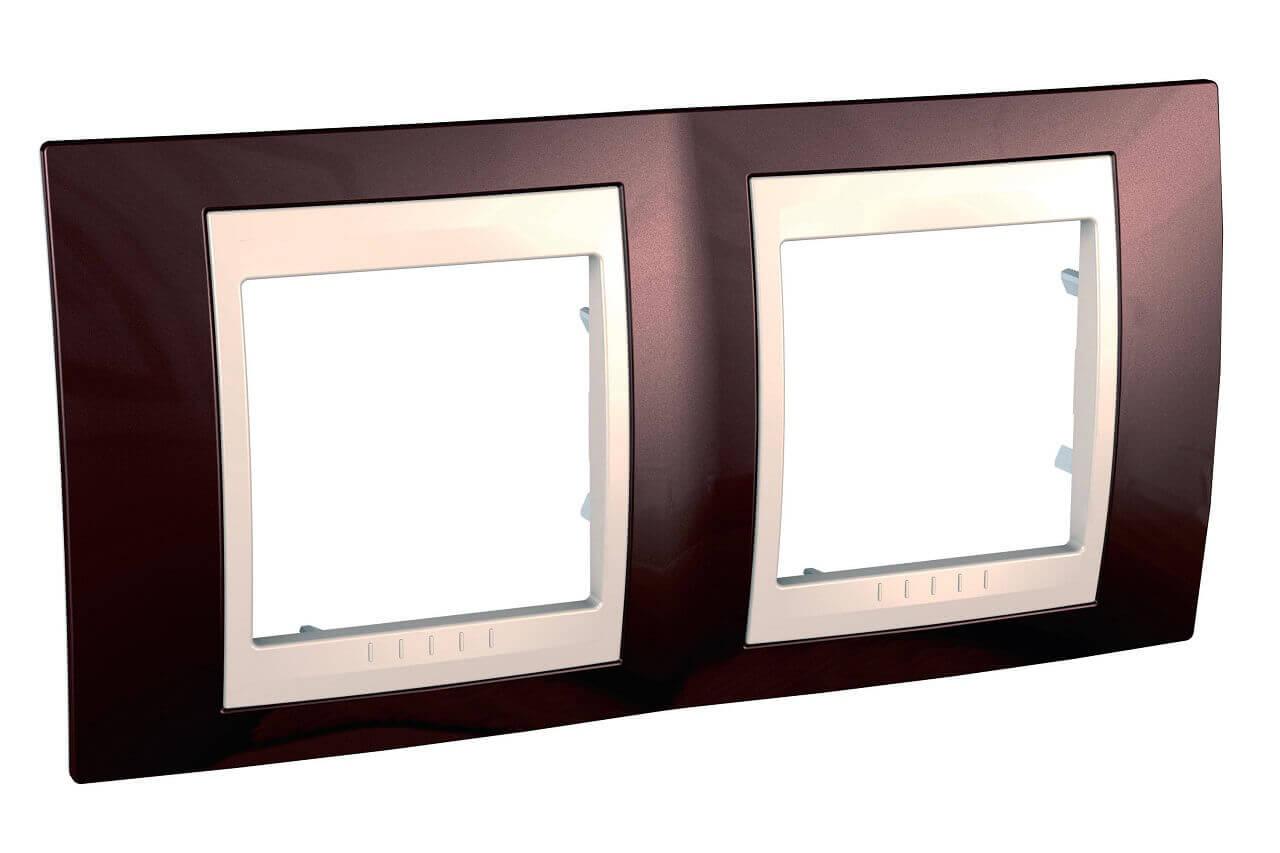 Рамка 2-постовая Schneider Electric Unica Хамелеон MGU6.004.551 рамка 2 постовая вертикальная schneider electric unica хамелеон mgu6 004v 18