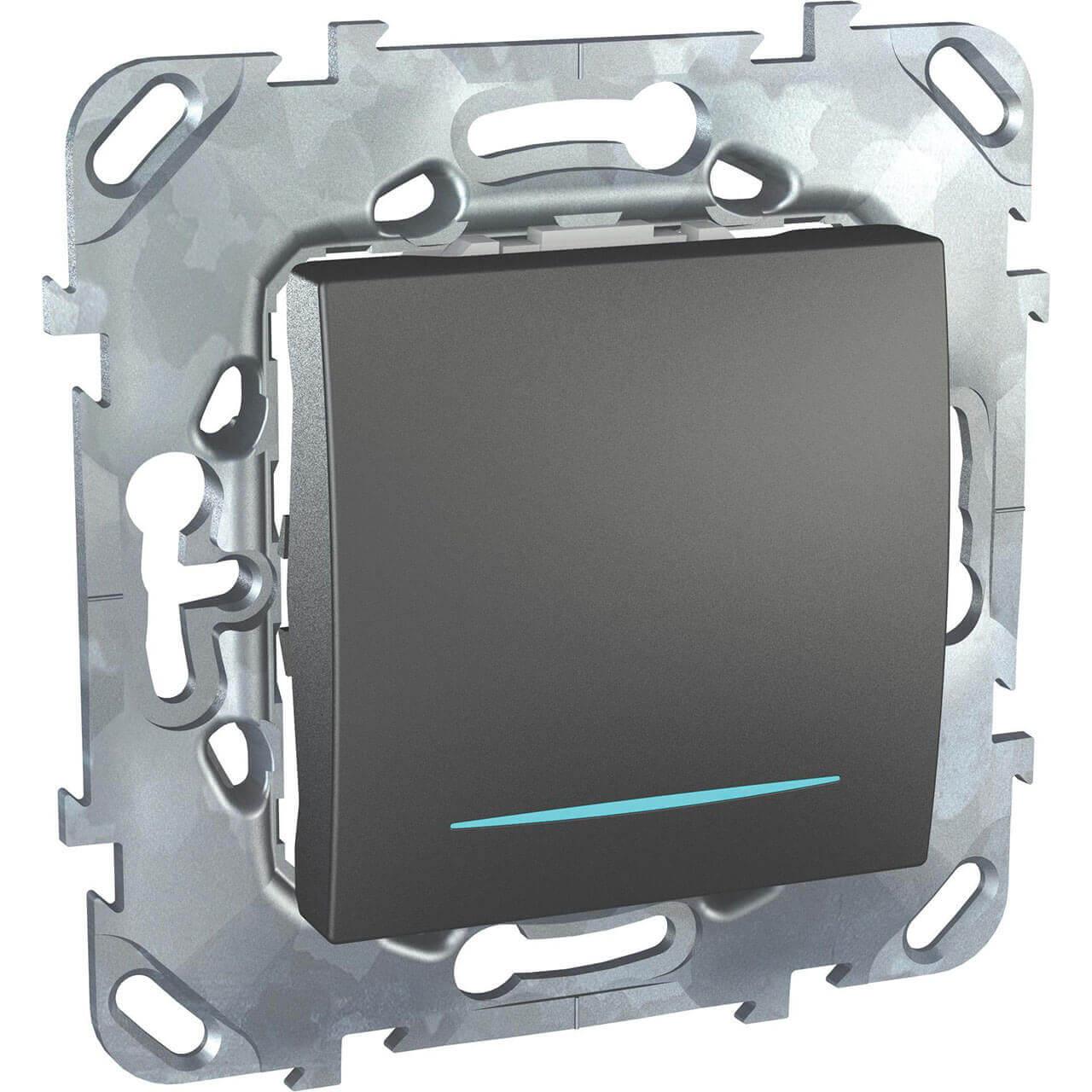 Выключатель одноклавишный с подсветкой Schneider Electric Unica MGU5.201.12NZD schneider одноклавишный кнопочный выключатель unica с подсветкой графит