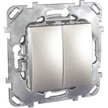 цена на Выключатель двухклавишный Schneider Electric Unica 10AX 250V MGU5.211.30ZD