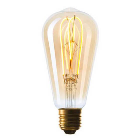 цена на Лампа светодиодная филаментная диммируемая E27 5W 2200K золотая 057-356
