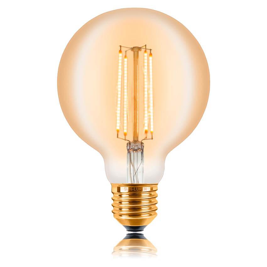 цена на Лампа светодиодная филаментная диммируемая E27 4W 2200K золотая 057158