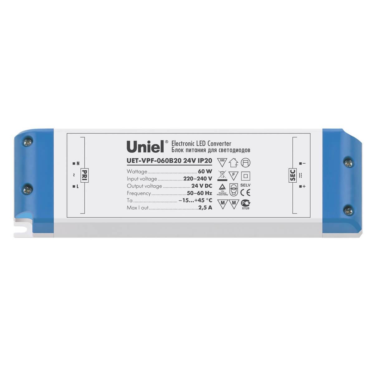 Блок питания для светодиодов 60W 2500мА (05833) Uniel UET-VPF-060B20 блок питания ul 00002429 uniel uet vas 060b20 24v ip20