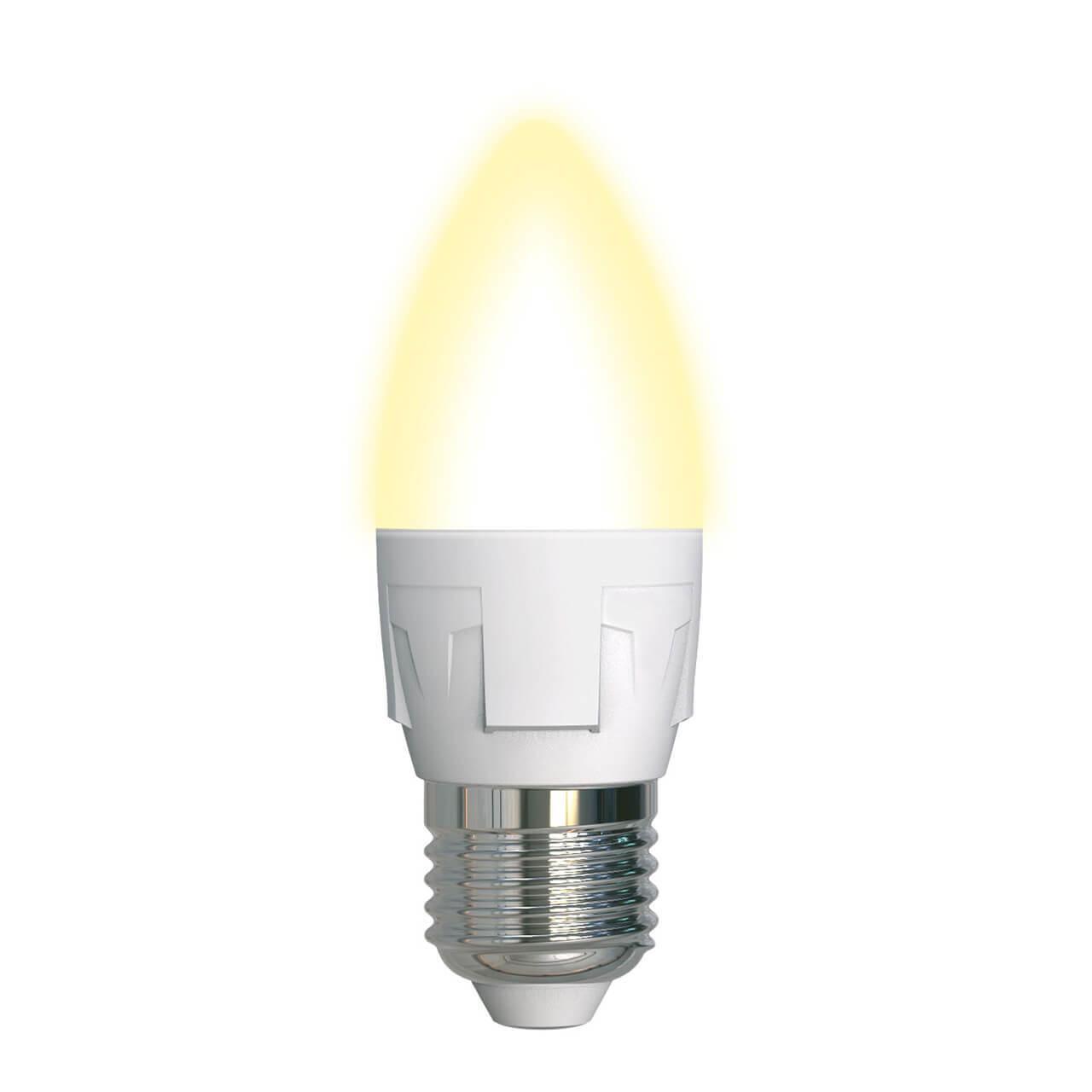 Лампа светодиодная (UL-00002414) Uniel E27 7W 3000K матовая LED-C37 7W/WW/E27/FR PLP01WH цена в Москве и Питере