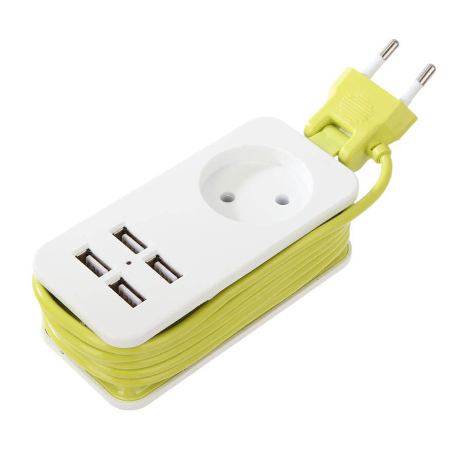 Удлинитель Uniel S-CT1-1,5U White/Green Travel (USB зарядное устройство)