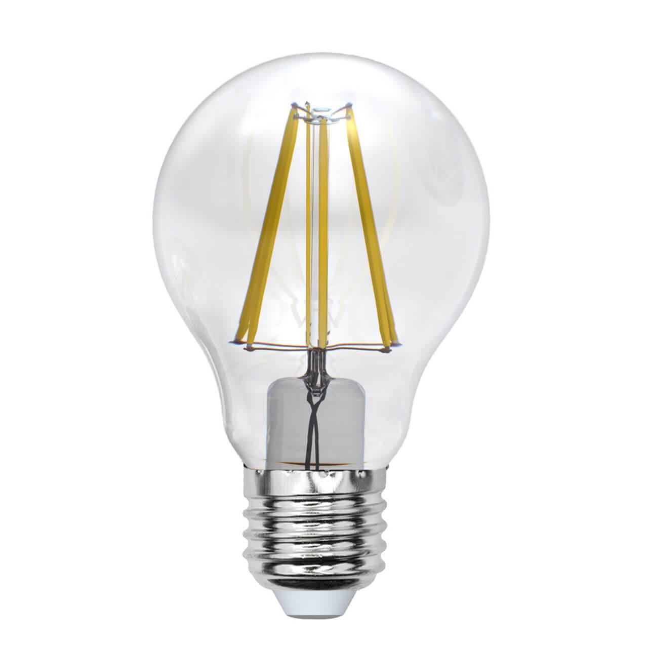 Лампа светодиодная филаментная Uniel E27 7W 3000K прозрачная LED-A60-7W/WW/E27/CL/MB GLM10TR лампа светодиодная филаментная e14 5w 3000k прозрачная led cw35 5w ww e14 cl mb glm10tr