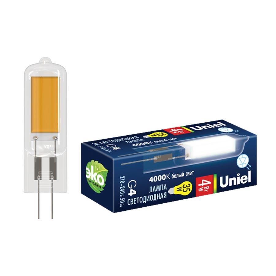 Лампочка Uniel LED-JC-220/6W/4000K/G4/CL GLZ08TR LED-JC лампочка in home led jc vc g4 3w 12v 4000k 270lm 4690612019796