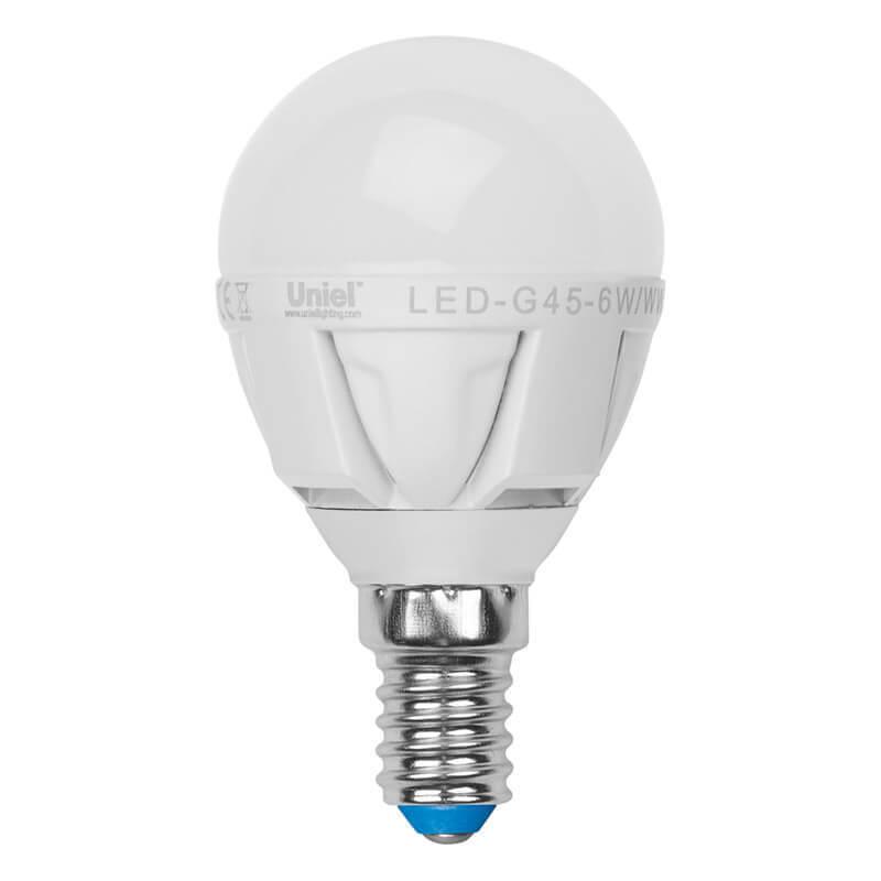 цена на Лампа светодиодная (07903) Uniel E14 6W 4500K матовая LED-G45-6W/NW/E14/FR ALP01WH