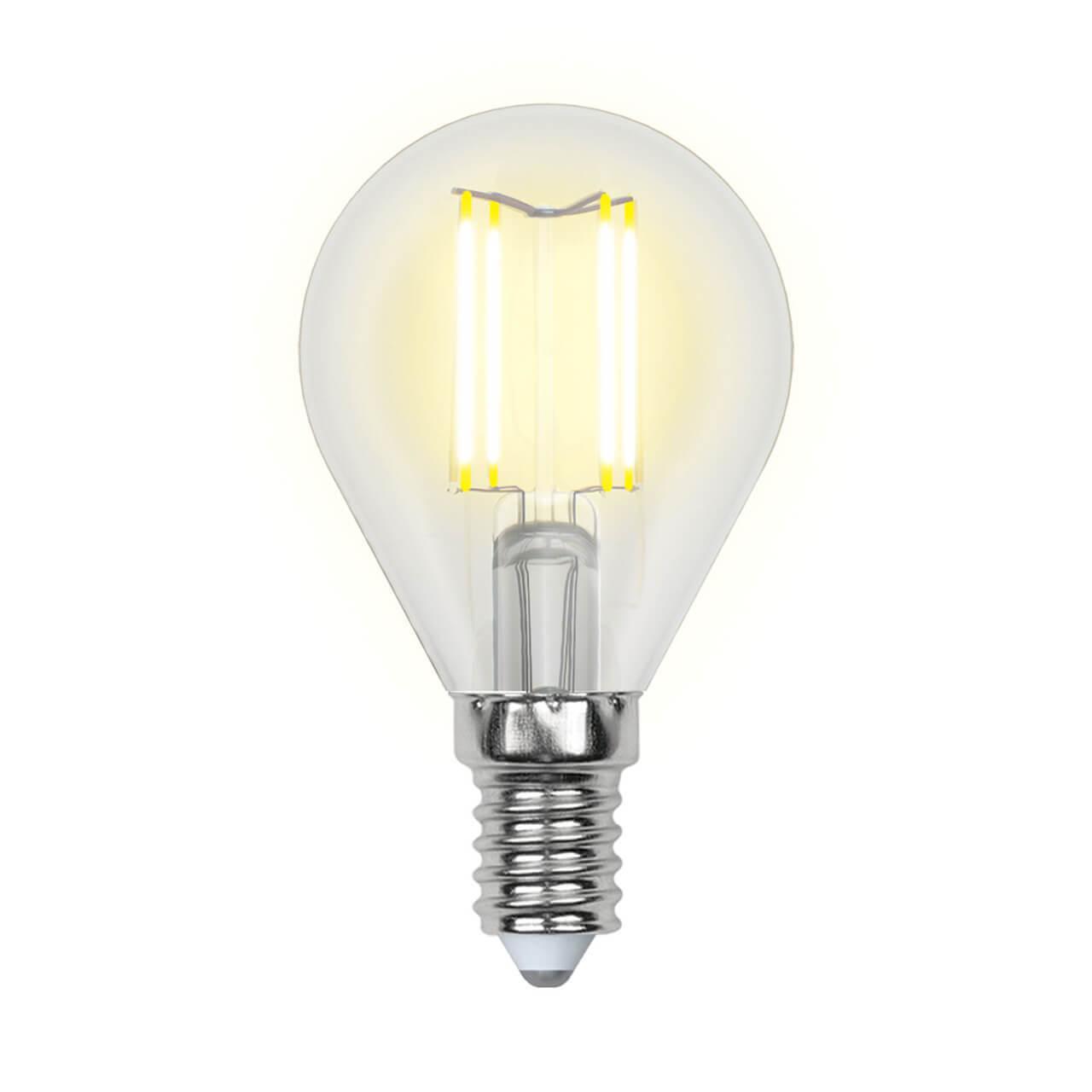 Лампа светодиодная филаментная E14 5W 3000K прозрачная LED-G45-5W/WW/E14/CL/MB GLM10TR