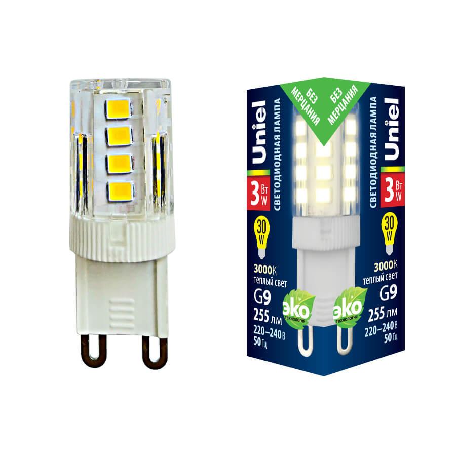 Лампочка Uniel LED-JCD-3W/3000K/G9/CL GLZ09TR LED-JCD