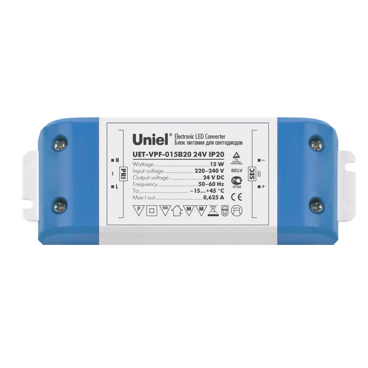 Блок питания для светодиодов 15W 625мА (05831) Uniel UET-VPF-015B20 цены онлайн
