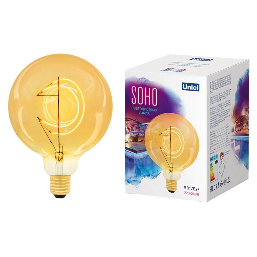 Лампочка Uniel LED-SF02-5W/SOHO/E27/CW GOLDEN GLS77GO Soho