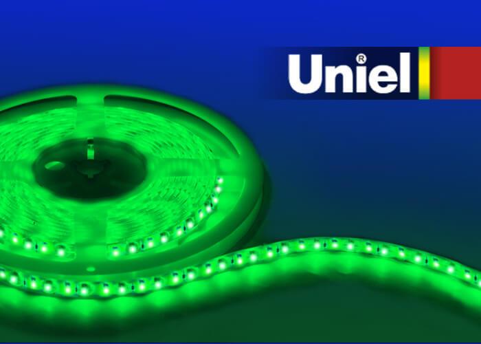 купить Светодиодная влагозащищенная лента (04875) Uniel 14,4W/m 60LED/m 5050SMD зеленый 5M ULS-5050-60LED/m-10mm-IP65-DC12V-14,4W/m-5M-GREEN дешево