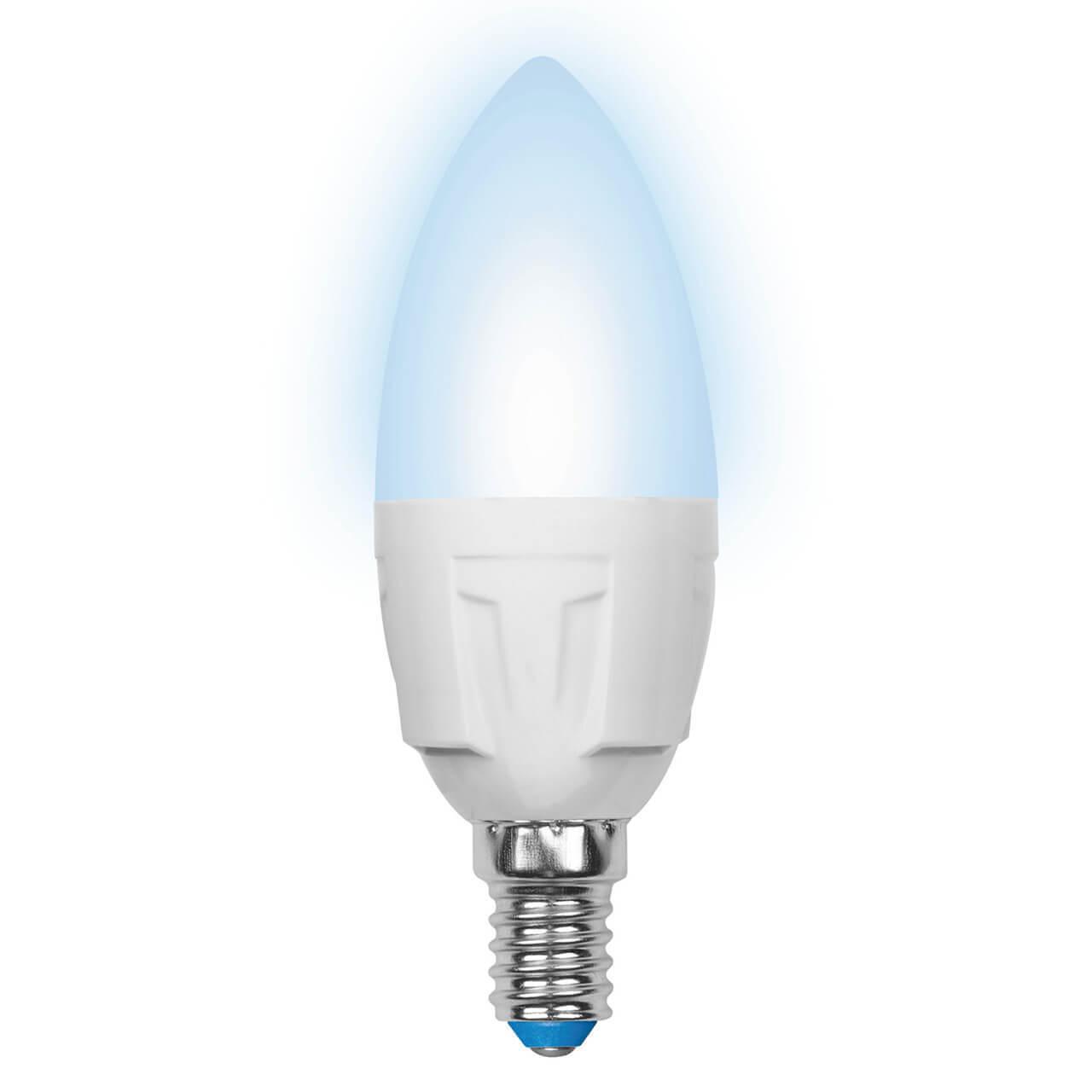 цена на Лампа светодиодная (UL-00000689) Uniel E14 6W 4500K матовая LED-C37-6W/NW/E14/FR/DIM PLP01WH