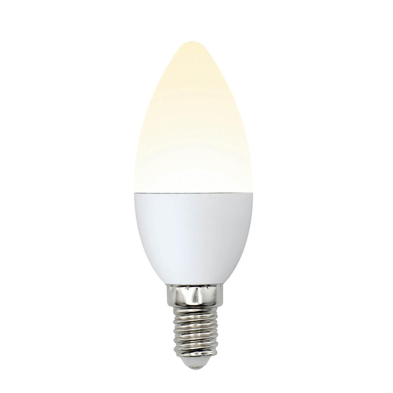 Лампа светодиодная (UL-00002373) Uniel E14 6W 3000K матовая LED-C37-6W/WW/E14/FR/MB PLM11WH цена в Москве и Питере