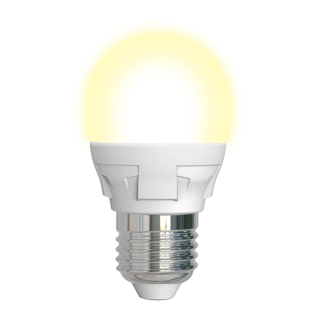 Лампа светодиодная диммируемая (UL-00004303) Uniel E27 7W 3000K матовая LED-G45 7W/3000K/E27/FR/DIM PLP01WH цена