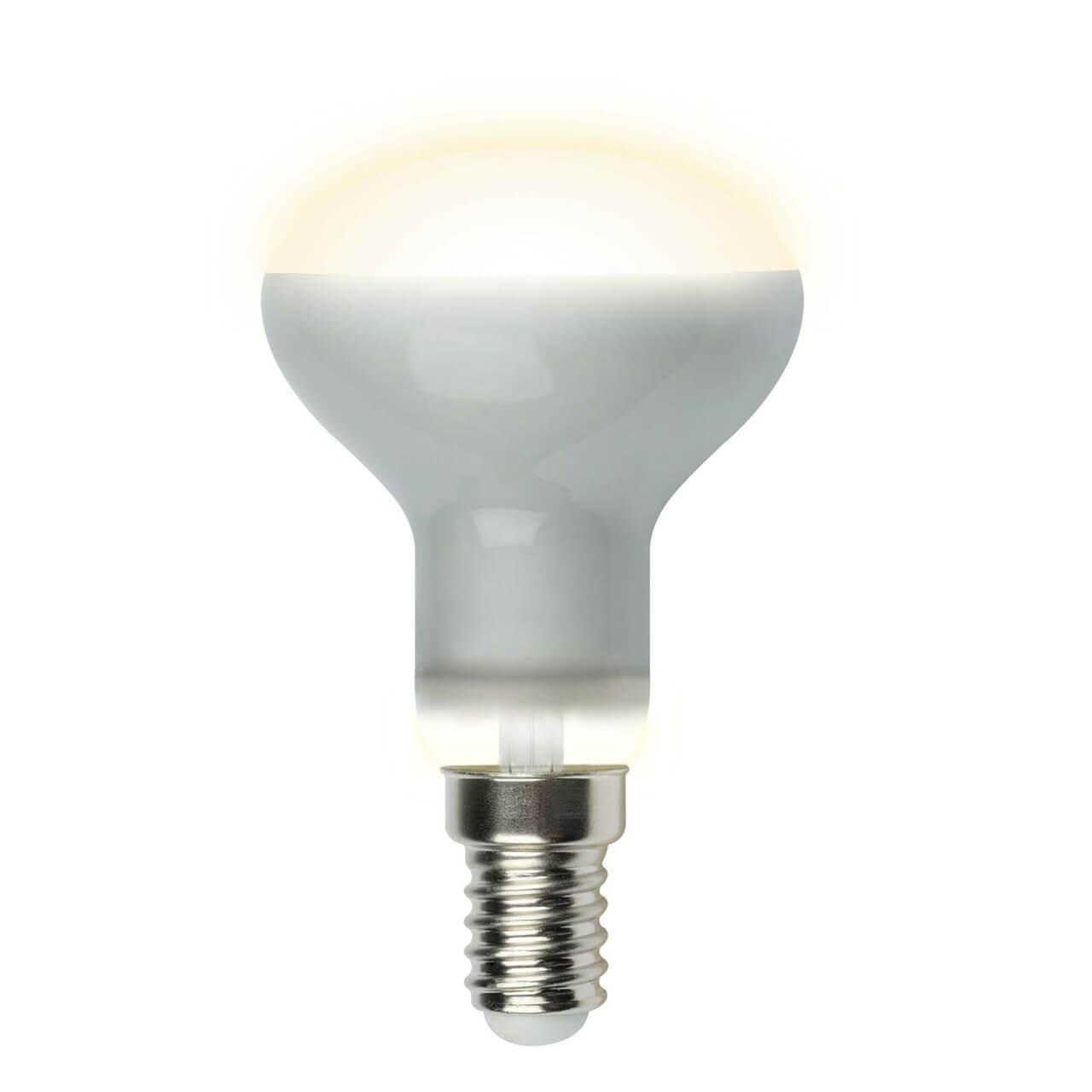 Лампа светодиодная рефлекторная (UL-00001491) Uniel E14 6W 3000K матовая LED-R50-6W/WW/E14/FR PLS02WH цена