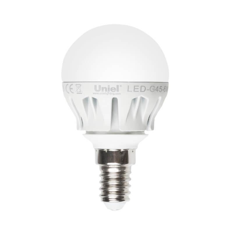 цена на Лампа светодиодная (08138) Uniel E14 6W 4500K матовая LED-G45-6W/NW/E14/FR ALM01WH