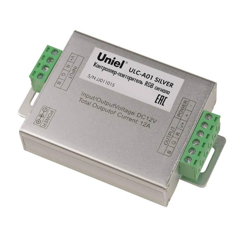 Контроллер-повторитель RGB сигнала (10597) Uniel ULC-A01 Silver цена 2017
