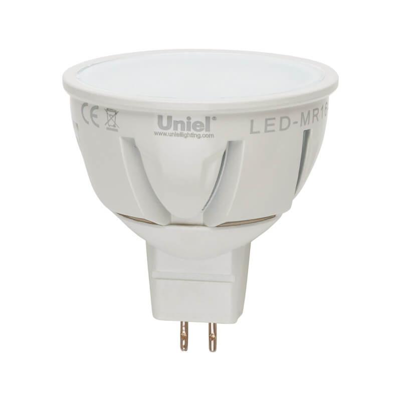 Лампа светодиодная (07914) Uniel GU5.3 7W 3000K JCDR матовая LED-JCDR-7W/WW/GU5.3/FR ALP01WH цены