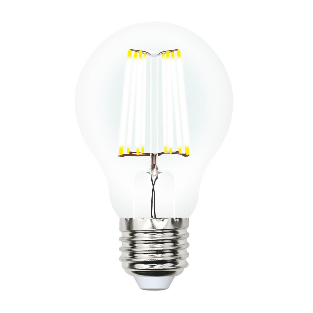 Лампа светодиодная филаментная (UL-00002626) Uniel E27 10W 4000K прозрачная LED-A60-10W/NW/E27/CL PLS02WH
