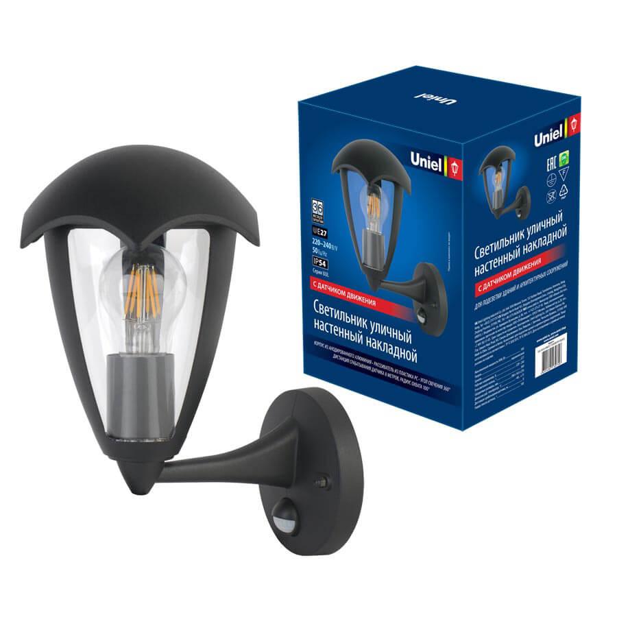 Светильник Uniel UUL-S81A 60W/E27 Sensor IP54 Black ULU-S80/81