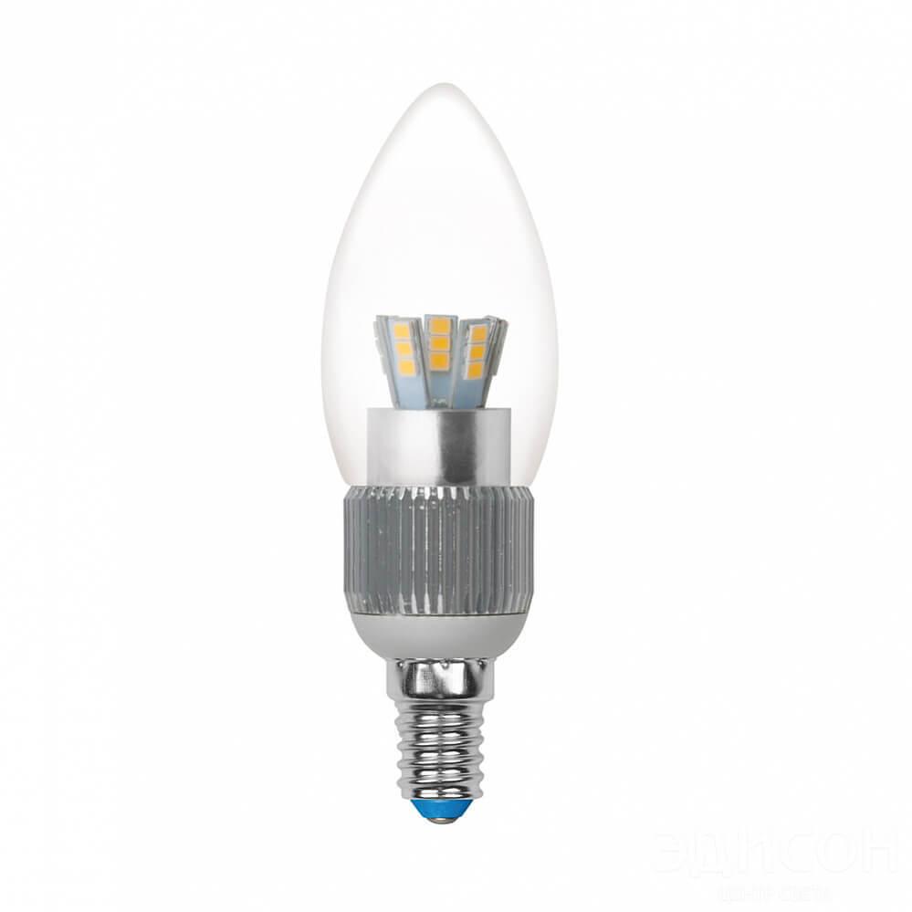 Лампа светодиодная диммируемая (08746) Uniel E14 5W 4500K прозрачная LED-C37P-5W/NW/E14/CL/DIM