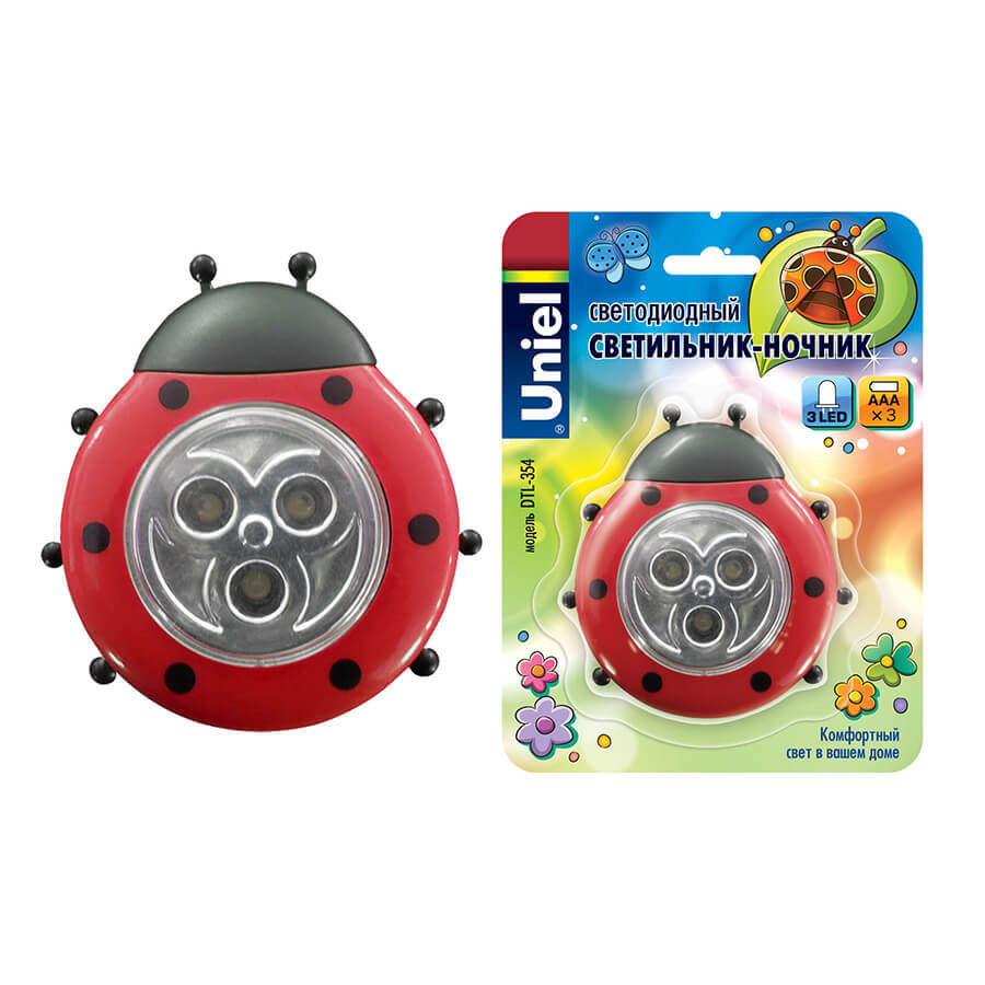ходунки pilsan love bug baby walker божья коровка red 07 499 Светильник Uniel DTL-354 Божья Коровка/Red/3LED/3AAA