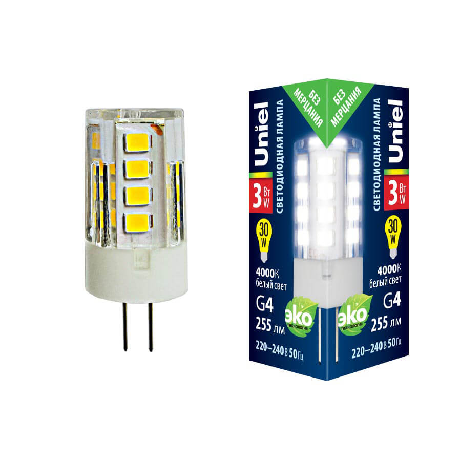 Лампочка Uniel LED-JC-220/3W/4000K/G4/CL GLZ09TR LED-JC