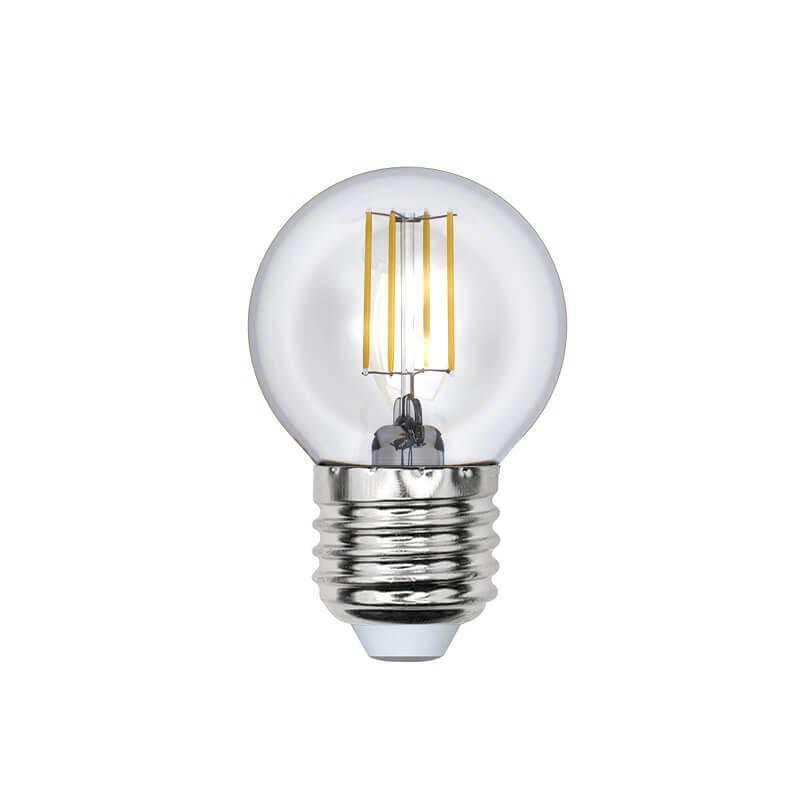 Лампа светодиодная филаментная (UL-00000196) Uniel E27 6W 3000K прозрачная LED-G45-6W/WW/E27/CL цена